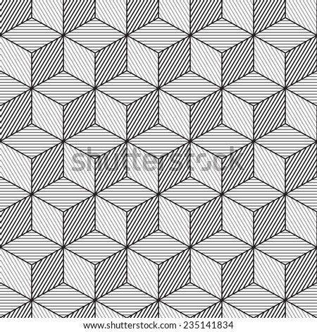 Cube background, line design, seamless pattern - stock vector
