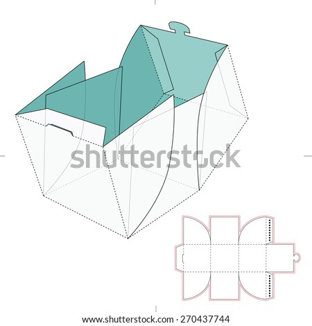 Cube Box with Die Cut Template - stock vector