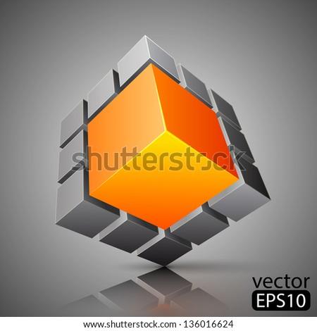 cube 3D - stock vector
