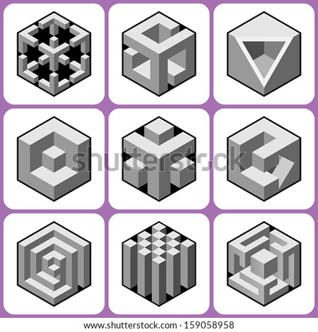 cube icons set 4 - stock vector