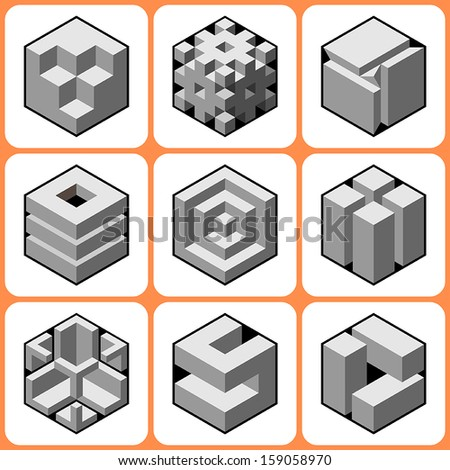cube icons set 6 - stock vector