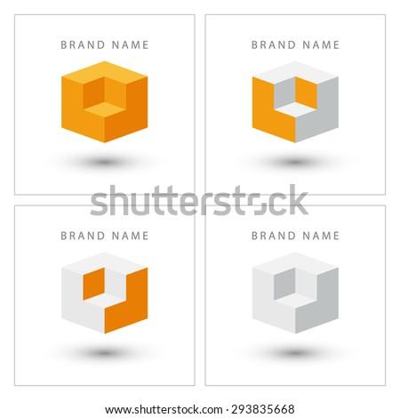 Cube isometric design logo template. - stock vector