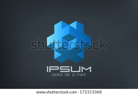 Cube logic abstract of cross and plus vector logo design template. Science Technology symbol. Rebus puzzle creative idea concept icon. Editable. - stock vector