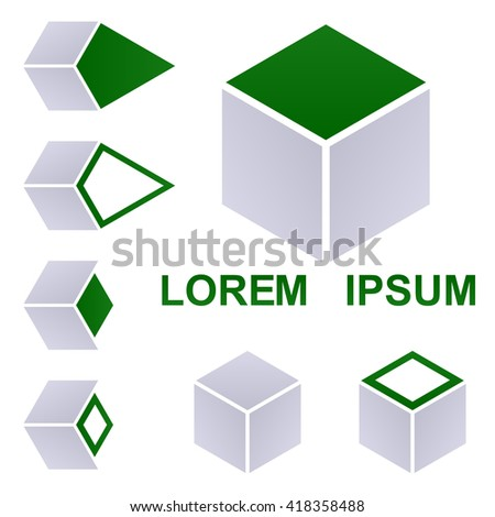 Cube logo design template set for packaging, shipping, delivery, transport concepts. - stock vector