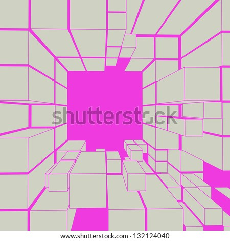 cube magenta grey frame composition vector illustration - stock vector