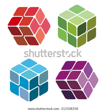 Cube Molecule technology vector design logo template. Box Electronics concept. Future DNA hi-tech chip icon.  - stock vector