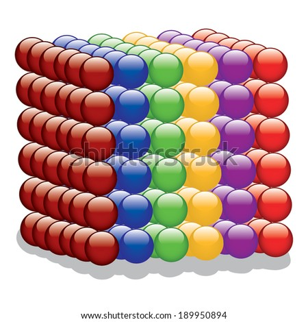 Cube of colorful Spheres vector  - stock vector