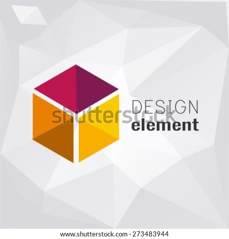 Cube on polygon background logo design template - stock vector