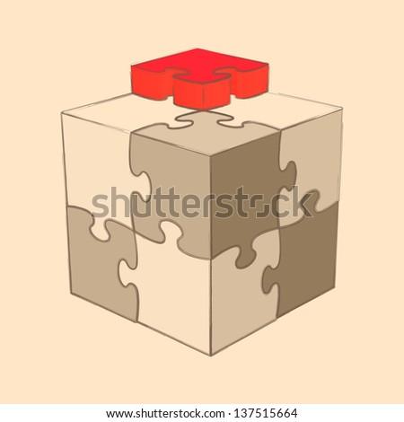 Cube Puzzle. Retro Style. Sketch. Vector Illustration - stock vector