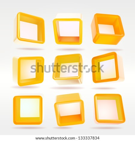 Cube square orange app button boxes in nine foreshortenings, eps10 vector design elements set - stock vector