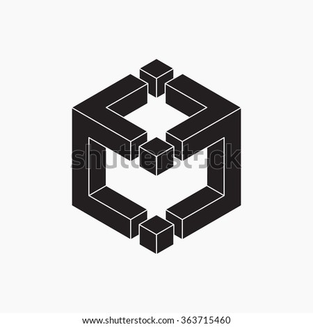 Cube, vector illustration, black and white, optical illusion - stock vector