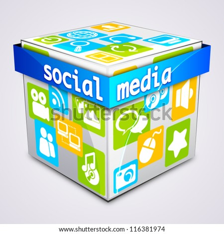 Cube with social media concepts - stock vector