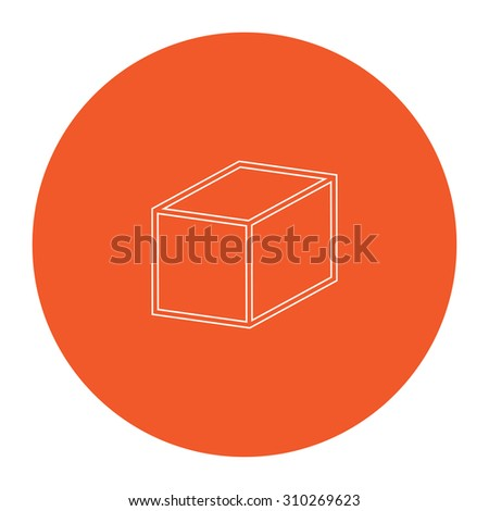 Cubes. Flat outline white pictogram in the orange circle. Vector illustration icon