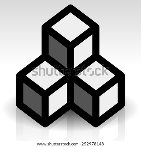 Cubes icon - Composition of shaded cubes. Eps 10, transparent shadow and reflection - stock vector