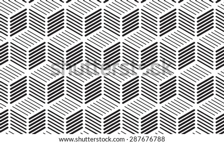 Cubes of Lines Seamless Background - Monochrome Illustration with Pattern in Swatches