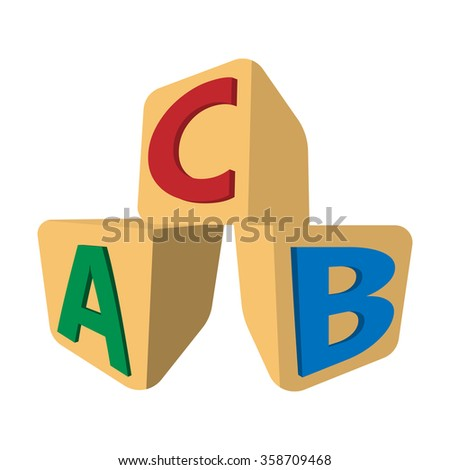 Cubes with letters ABC cartoon icon on a white  background - stock vector