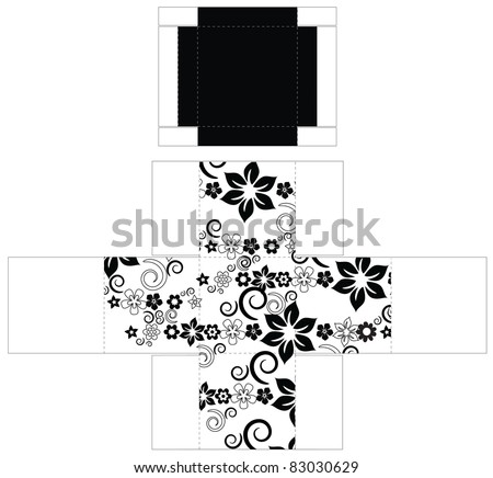 Cubic box template - stock vector
