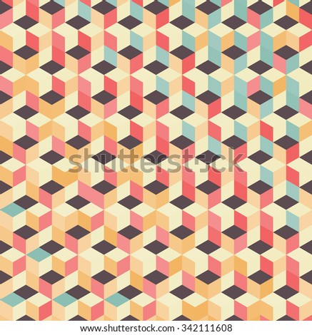 Cubic colorful Pattern. Vintage background. Grid Pattern. Abstract colorful Background. Isometric background. Geometric pattern. Geometric Texture. Vector regular Texture. - stock vector