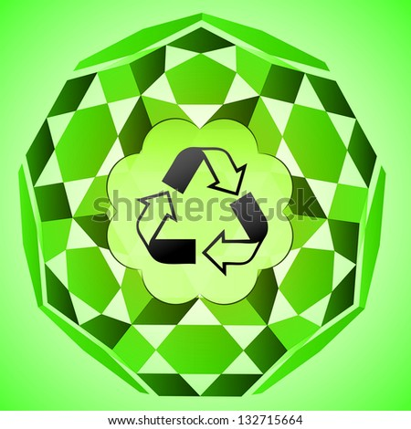 cubic green layout with recycle sign in bubble vector illustration - stock vector
