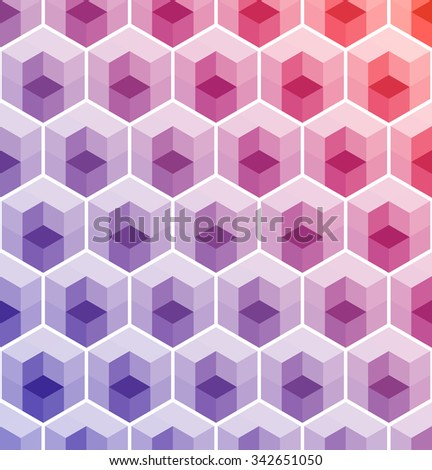 Cubic Pattern. Geometric background of hexagons. Christmas background. Grid Pattern. Abstract colorful Background. Isometric background. Winter background.  Vitrage. Vector regular Texture. - stock vector