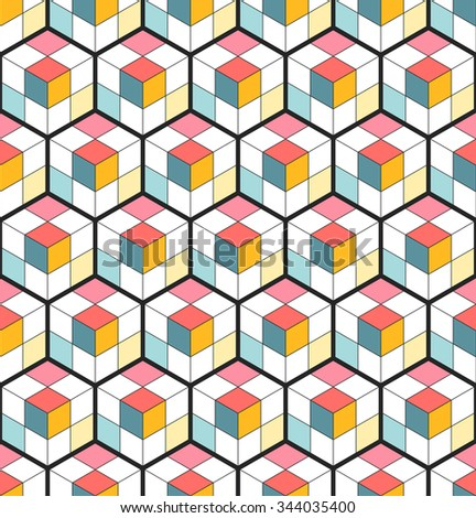 Cubic seamless Pattern. Abstract Background. Geometric background. Grid Pattern. Isometric background of hexagons. Three-dimensional Pattern. Zigzag background. Stained-glass. Vector regular Texture. - stock vector