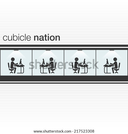 Cubicle nation poster. People icons working in office.