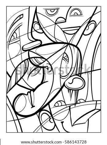Cubist Faces Fun Coloring Page Vector Stock Vector 586143749 ...