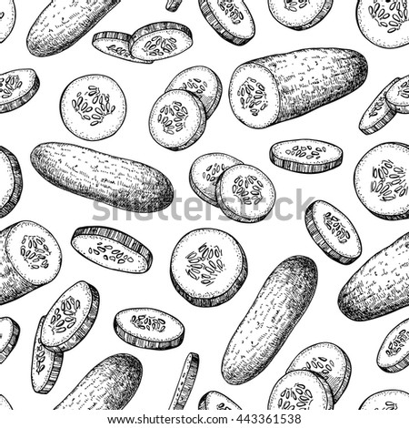 Cucumber and sliced pieces hand drawn vector seamless pattern. Vegetable engraved style illustration. Detailed vegetarian food drawing background. Farm market product.