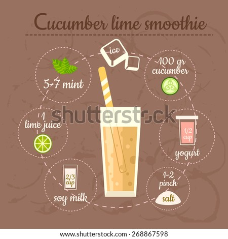 Cucumber lime smoothie recipe. Menu element for cafe or restaurant with energetic fresh drink. Fresh juice for healthy life. - stock vector