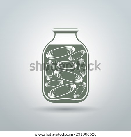 Cucumbers in glass jar logo design. Isolated on light grey background vector illustration - stock vector