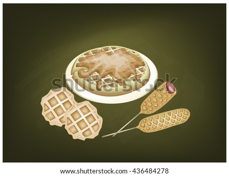 Cuisine and Food, Freshly Baked Round Waffles and Hot Dog Waffles on A Chalkboard. - stock vector