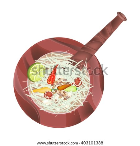 Cuisine and Food, 5 Ingredients Green Papaya Salad Recipe in Wooden Mortar Isolated on White Background. - stock vector