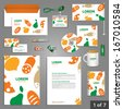 Culinary stationery template design with food, fruits and vegetables. Documentation for business. - stock vector