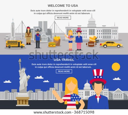 Cultural travel sightseeing USA information online 2 flat banners design webpage with american symbols abstract vector illustration - stock vector