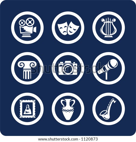 "Culture and Art (p.1). To see all icons, search by keywords: ""agb-vector"" or ""agb-raster"" - stock vector"