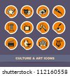 Culture and Art vector icons on stickers - stock vector