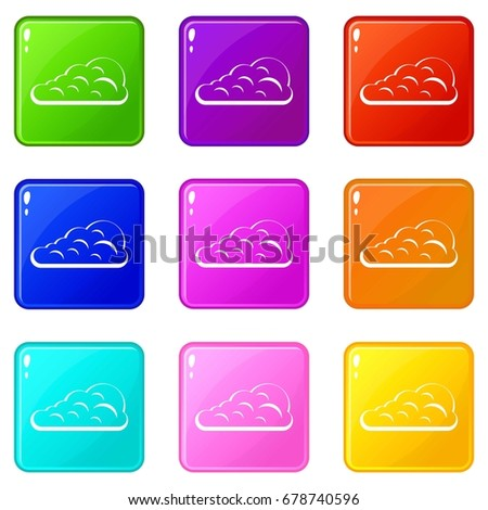 Cumulus Cloud Icons 9 Color Set Stock Vector 678740596 Shutterstock