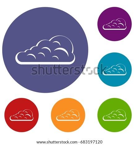 Cumulus Cloud Icons Set Flat Circle Stock Vector 683197120