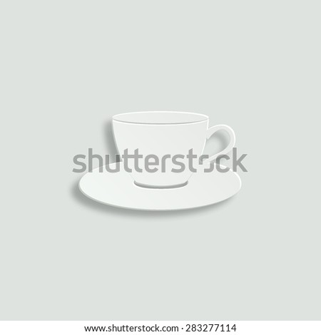 cup and saucer vector icon - paper illustration