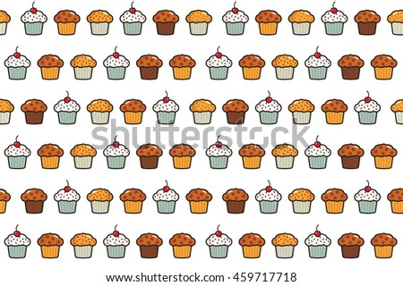 Cup cake seamless pattern
