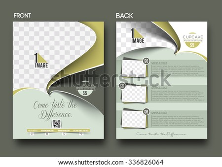Cup Cake Shop Front & Back Flyer Template - stock vector