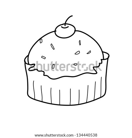 cup cake sketch in black and white style free hand drawing - stock vector