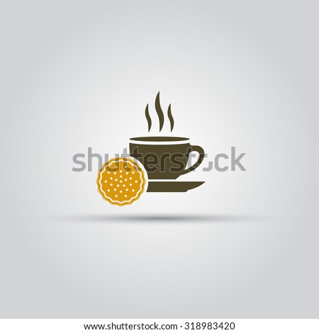 Cup coffee and cookie isolated vector icon - stock vector