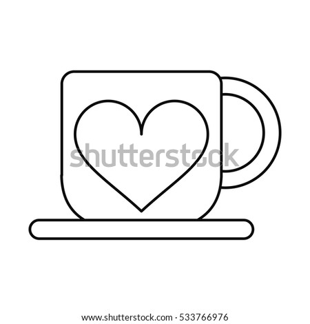 Cup Coffee Love Heart Hot Outline