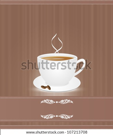 Cup  coffee on  brown background. Eps10 vector.