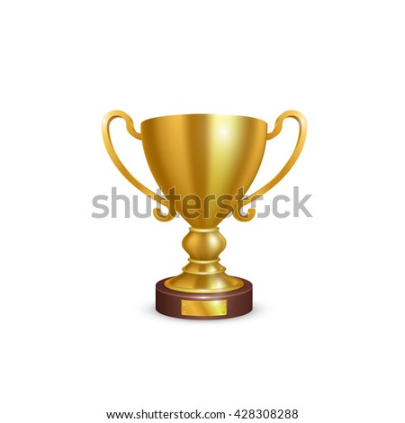 Cup 3d golden leader icon, Object on a white background, Vector illustration