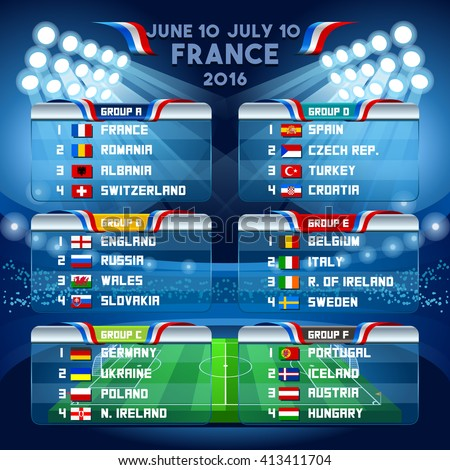 Cup EURO final tournament schedule. 3D Vector Infographic Football European Championship Soccer final qualified countries. France Europe International matches group stage participating teams. - stock vector
