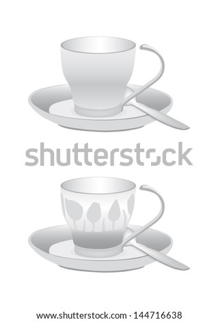 Cup for tea or coffee - decorated tulips - black and white - stock vector