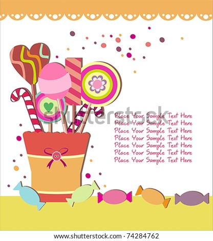 cup full of lollipops - stock vector