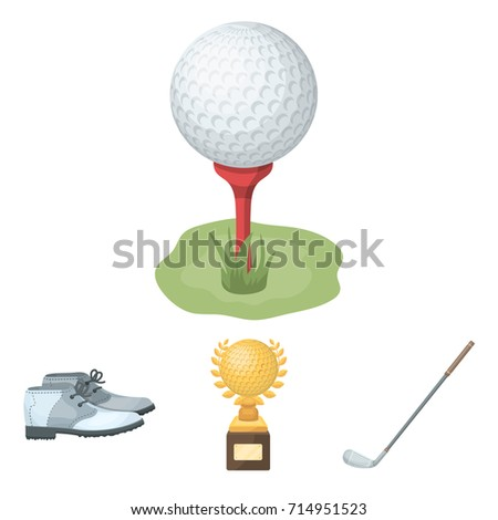 Cup, golf club, ball on the stand, golfer shoes.Golf club set collection icons in cartoon style vector symbol stock illustration web.